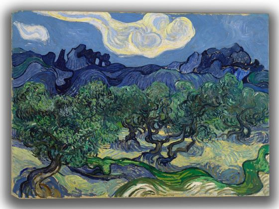 Van Gogh, Vincent: Olive Trees in a Mountainous Landscape. Fine Art Canvas. Sizes: A4/A3/A2/A1 (0017)